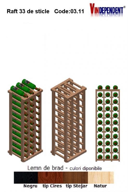 Raft din lemn pentru 33 de sticle