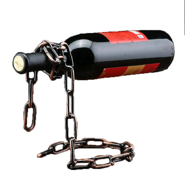 Suport pentru o sticla vin - lant negru cuprat