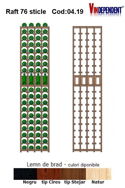 Raft din lemn tip display pentru 76 sticle