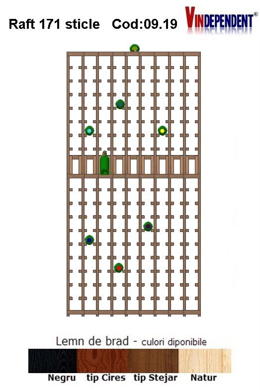 Raft din lemn tip display pentru 171 sticle