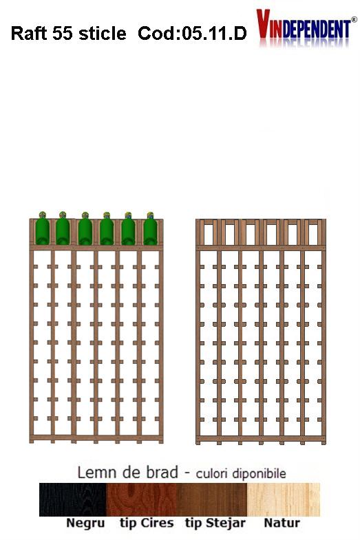 Raft din lemn tip display pentru 66 sticle