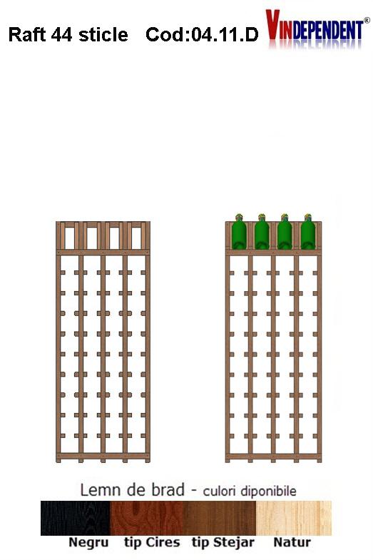 Raft din lemn tip display pentru 44 sticle