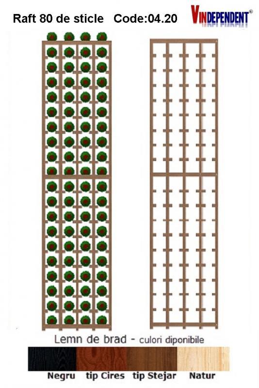 Raft din lemn pentru 80 de sticle
