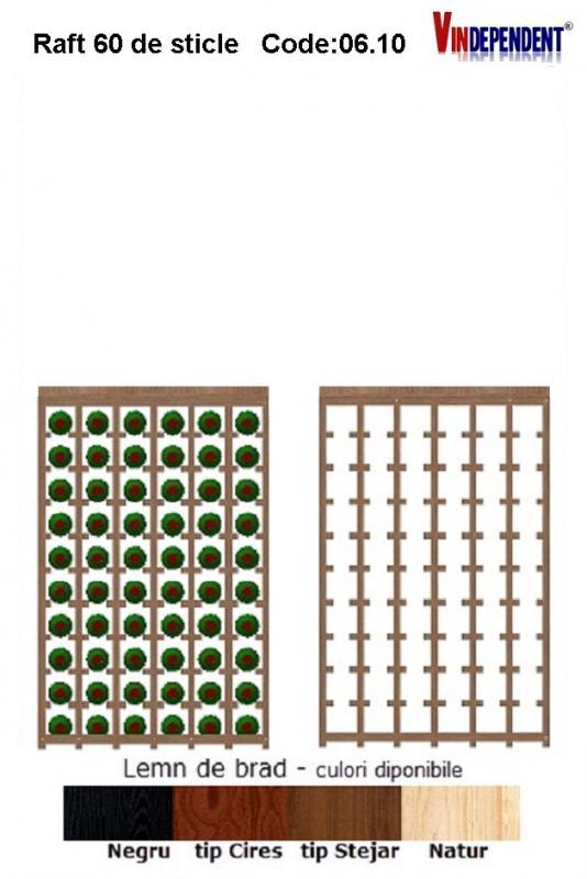Raft din lemn cu blat pentru 60 de sticle