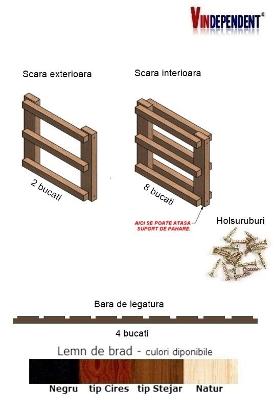 Raft din lemn pentru 27 de sticle