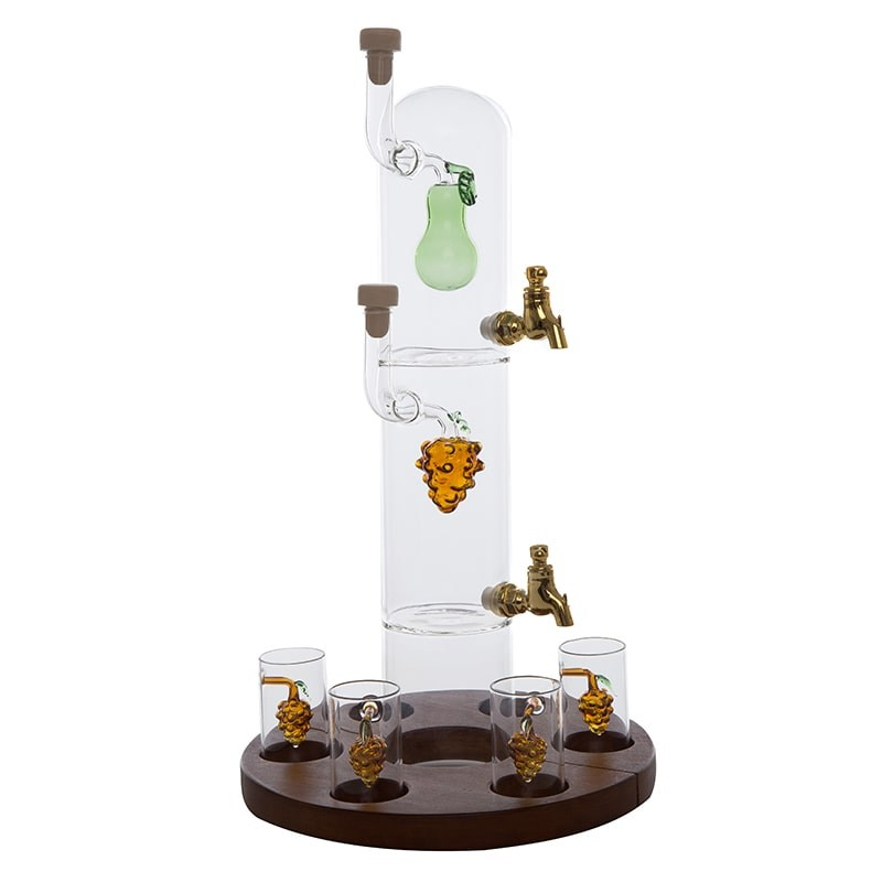 Sticla-bar cu 2 nivele si 6 pahare