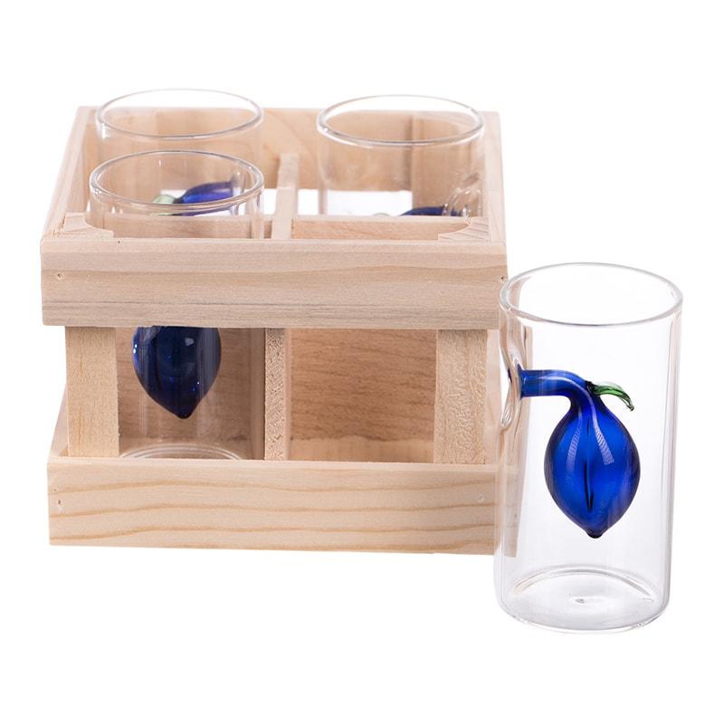Set 4 paharute cu pruna in ambalaj lemn