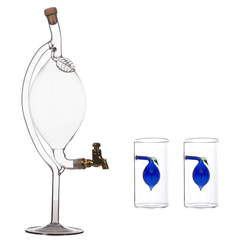 Sticla pruna cu robinet si 2 paharute cu pruna