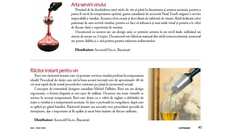 Prezentare produse in revista Caffe and Bar nr.3/2009