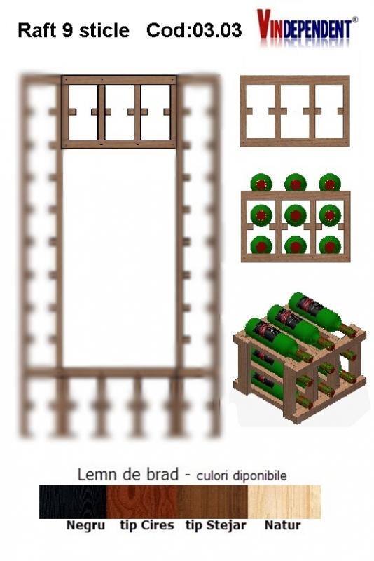 Raft din lemn pentru 9 sticle