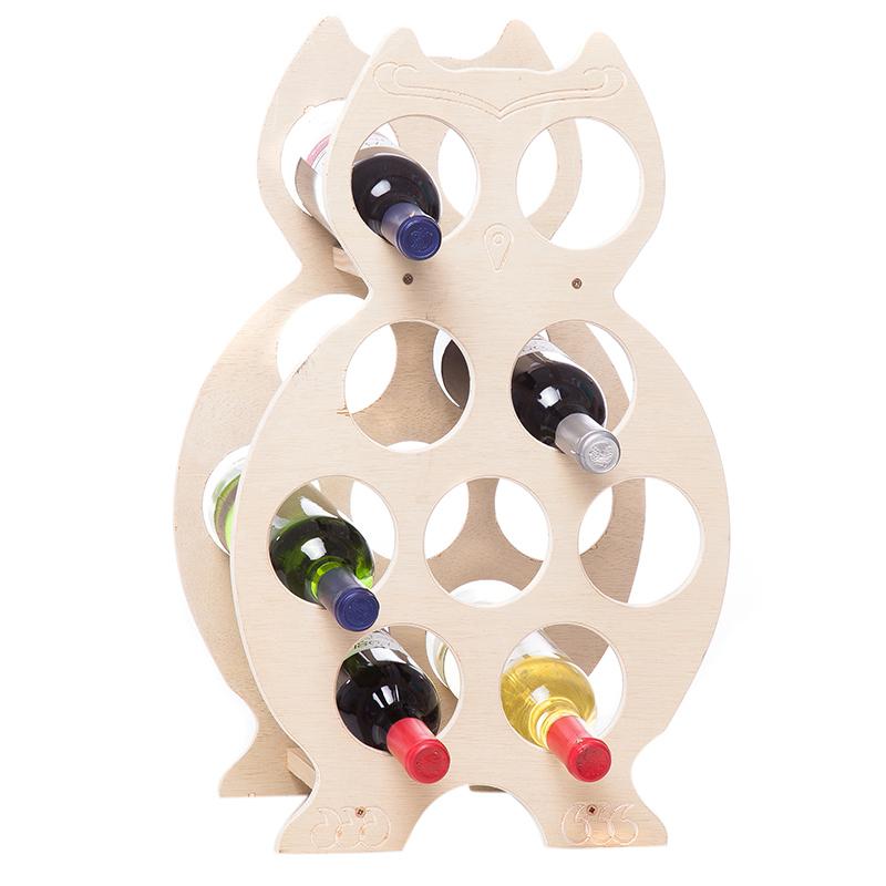 Suport natur forma bufnita pentru 9 sticle vin