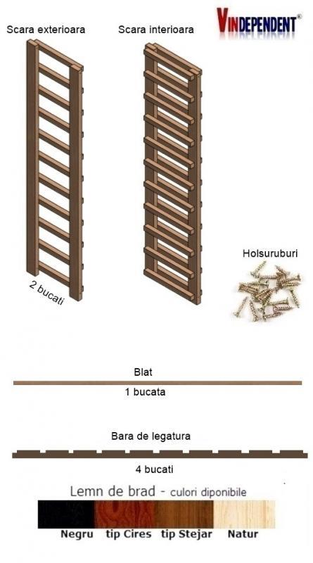 Raft din lemn cu blat pentru 100 de sticle