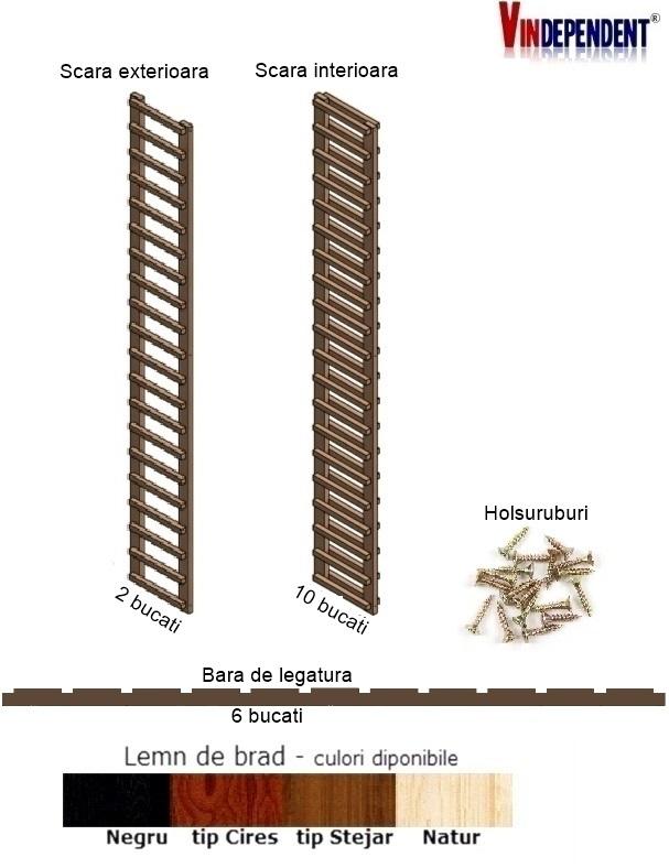 Raft din lemn pentru 220 de sticle