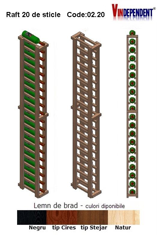 Raft din lemn pentru 20 de sticle