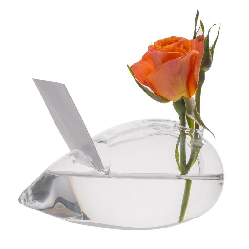 Vaza inima cu suport carte vizita