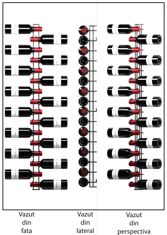 Suport metalic negru 16 sticle