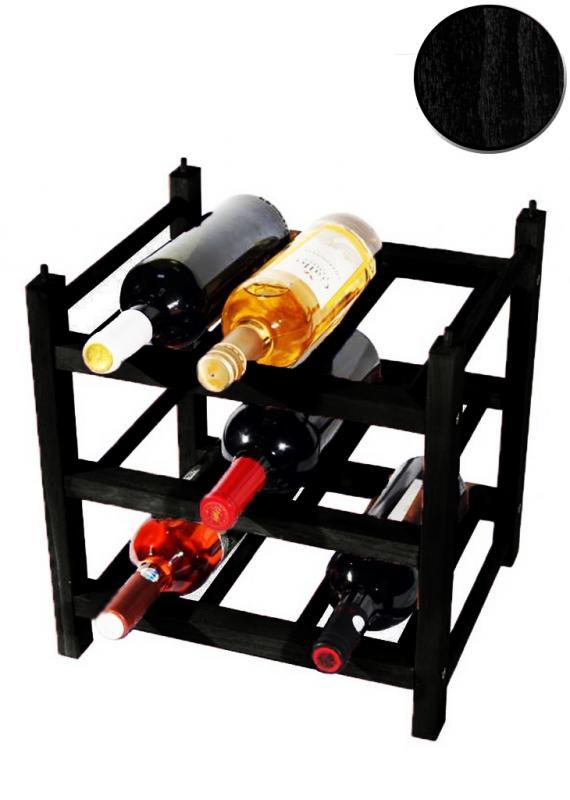 Raft lemn negru 9 sticle Clever