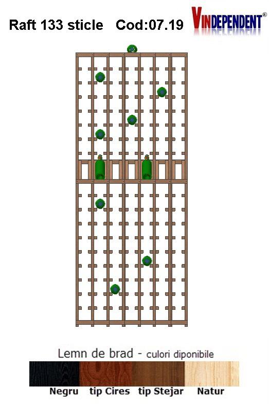 Raft din lemn tip display pentru 133 sticle