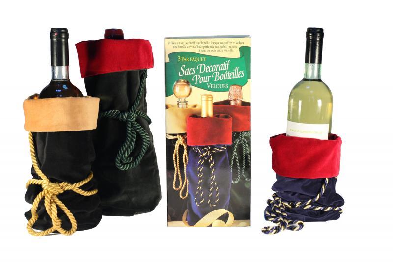 Set 3 saculeti sticla vin
